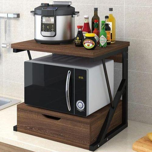 2-Tiers Kitchen Counter Microwave In Laminated Wood For Kitchen Essentials