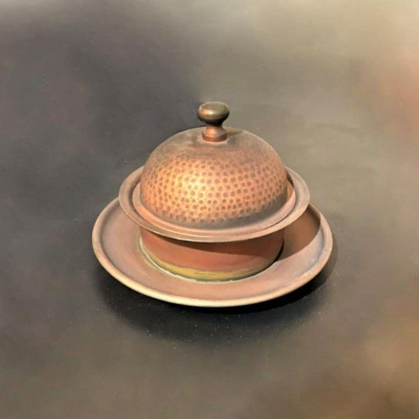 Beautiful Copper Hammered Butter Dish MK