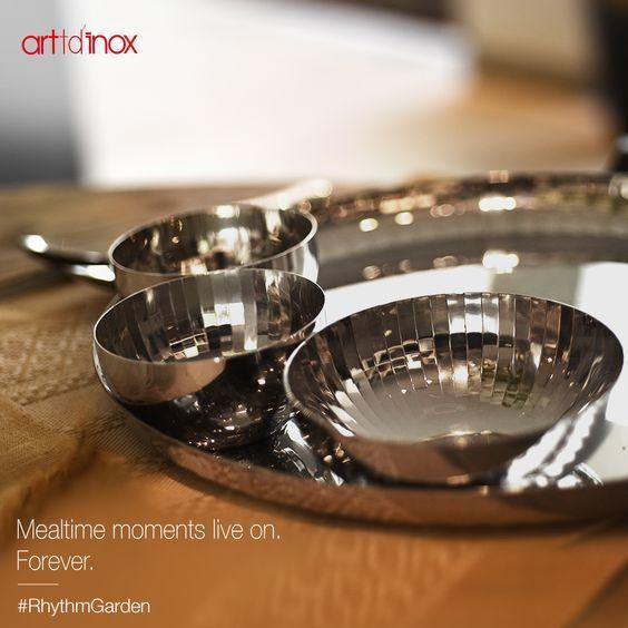 Rhythm Garden Dinner Set (28 Pcs.) in Stainless Steel by Arttdinox