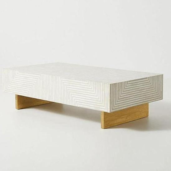 All New Modern Design Bone Inlay Centre Coffee Table With Wooden Base Gold Finish