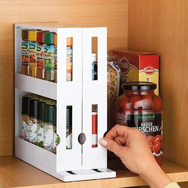 Kitchen Spice Organizer Rack Multi-Function Rotating Storage Shelf Slide Out
