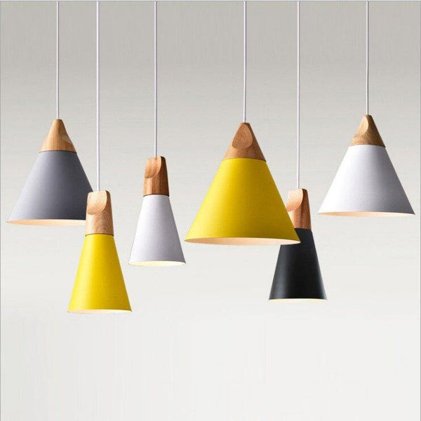 Modern LED Pendant Light Nordic Colorful Triangle Wrought Iron Metal Rope Lamp For Kitchen Living Room Solid Wood Cafe Baryellow