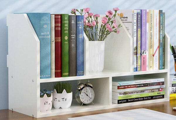 60*20*34CM Solid Wood Bookcase Portable Desktop Bookshelf Modern Office Book Shelf