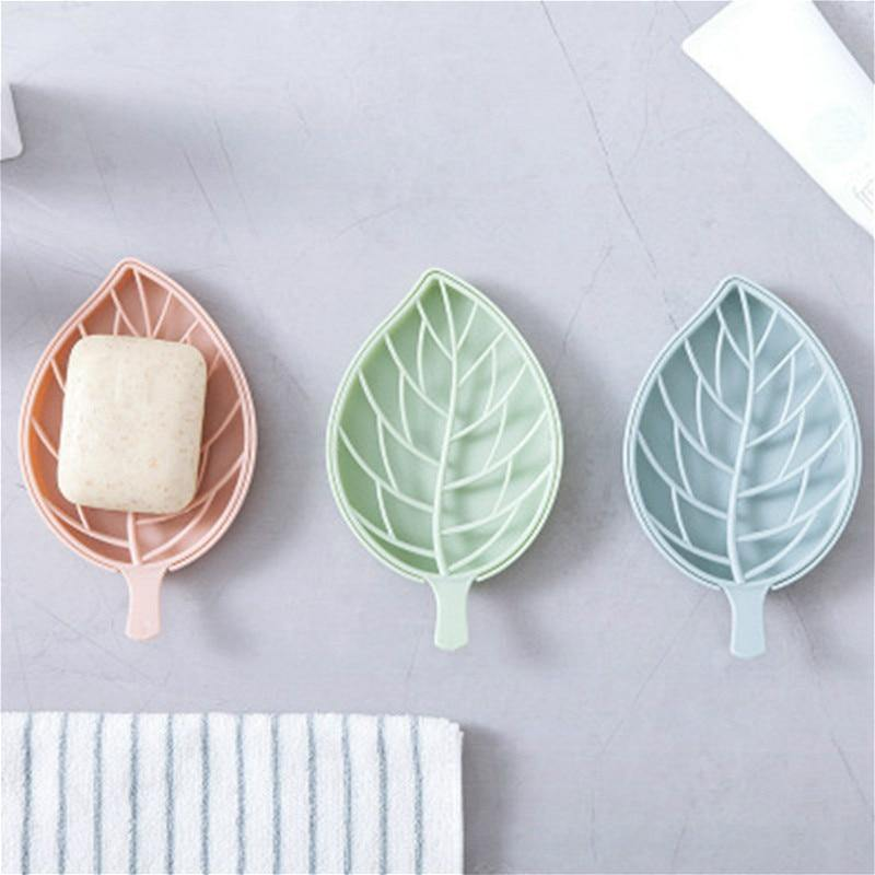 1PC Double Plain Leaf Shape Drain Soap Box Soap Storage Container Portable Leaf Modeling Soap Dishes Holder Bathroom Supplies