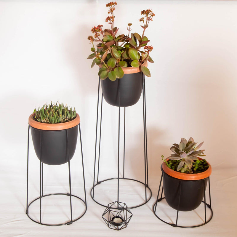 COMBO Elegant Creative Metal Flower Pot For Indoor With Tea Light  SET OF 2 & 3
