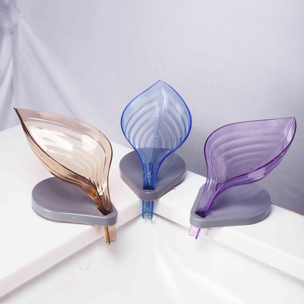 1PC Bathroom Decor Leaf Shape Hollow Soap Drainage Holder [Random color]