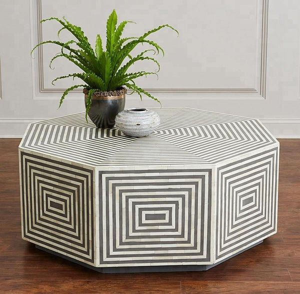 Industrial Bone Inlay Black & White Centre Coffee Table, Antique Design Bone inlay Coffee Table