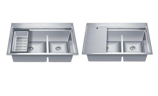 Exa Stainless Steel Double Bowl Kitchen Sink in 304 Grade Finish without Drainboard