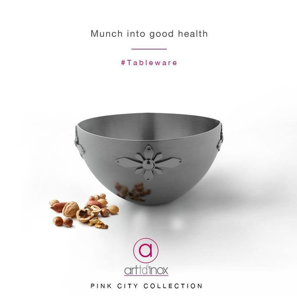 Pink City Nut Bowl in Stainless Steel By Arrtdinox