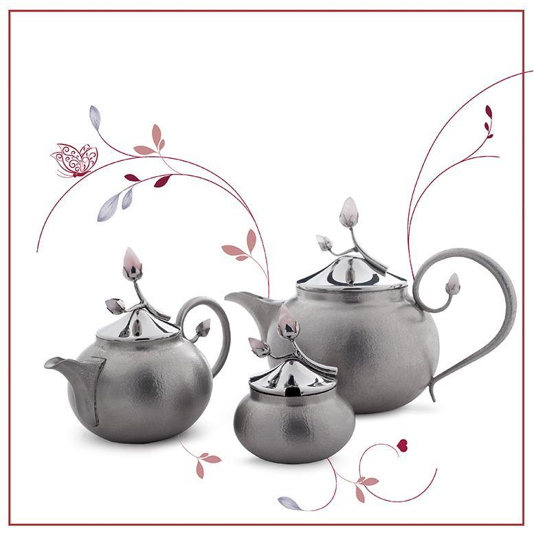 Pink Bloom Tea Set in Stainless Steel With Texture by Arttdinox