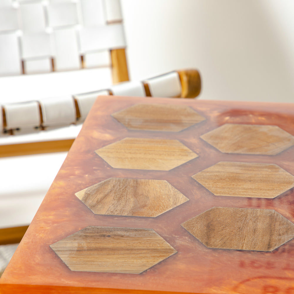 HONEYCOMB RESIN COFFEE TABLE