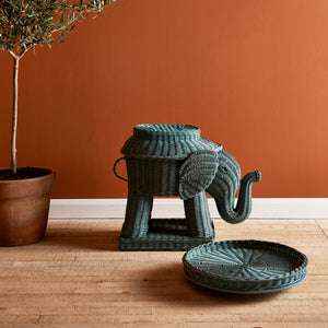 ELEPHANT RATTAN TRAY SIDE TABLE