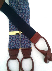 New- Blue Diamond Print Silk Suspenders