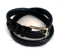 New- Black Braided Leather Belt- Size 32