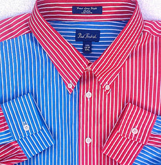 New- Paul Fredrick Red/White Blue Stripe Fashion Shirt- Size XXL
