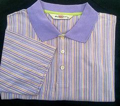 New- Windsor Lake Multi-Color Vertical Stripe Polo/ Golf Shirt- Size L