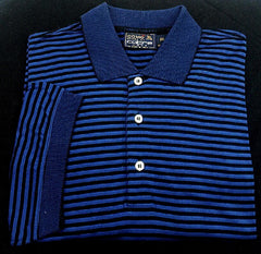 New- Como Sport by Cobra- Blue/Black Stripe Polo/ Golf Shirt- size XXL