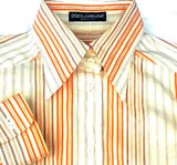 Women's Dolce and Gabbana- Orange/White Stripe Dress Blouse- size 40 (USA 6)