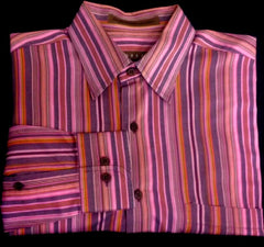 Robert Talbott Multi Color Stripe BU Fashion Shirt- size M