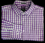 Neiman Marcus Purple Check Dress/ Fashion Shirt- size (16.5x36/37) Trim Fit