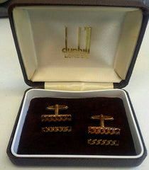 Vintage Dunhill of London- Gold/Black Onyx Cuff Links