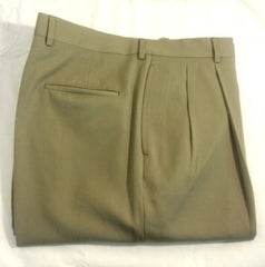 New- Corbin Khaki Gabardine Wool Pleated Trousers- Size 38x31
