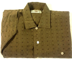 New- Windsor Lake- Brown Geometric Check Fashion Shirt- size L