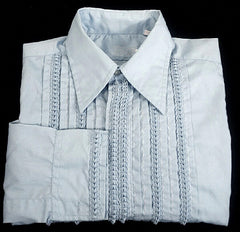 Maxim LTD 1970's Powder Blue Tuxedo Shirt- Size M