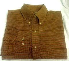 Paul Stuart- Brown Houndstooth Fashion Shirt- Size L