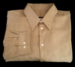 Kenneth Cole-Tan Ultra Suede Fashion Shirt- Size L