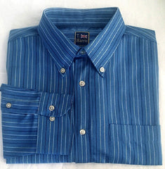 New- T. Harris of London- Blue Stripe BD Dress/ Fashion Shirt- Size XL