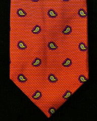 Private Stock 9 Fold Burnt Orange Paisley Silk Tie