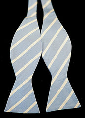 Vintage Mentauge Blue & White Stripe Silk Bow Tie