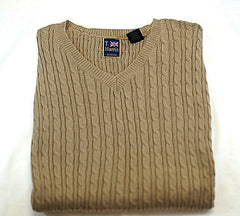 New- T. Harris of London-Taupe Cable Knit Sweater Vest- size M