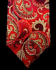 Sean John- Red and Gold Paisley Woven Silk Tie