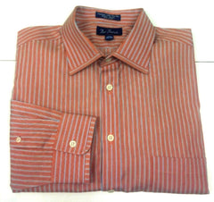 New- Paul Fredrick Trim Fit- Orange/Blue Stripe Dress Shirt- Size (16.5 x 34)