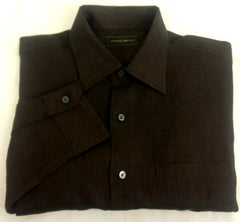 Joseph Abboud Brown Linen Fashion Shirt- size M