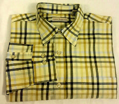 James Tatttersall Yellow Plaid Fashion Shirt- size L