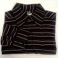 Vintage Dolce and Gabbana- Pinstripe Fashion Shirt- Size XL
