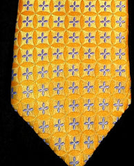 Ike Behar Yellow Geometric-Floral Woven Silk Tie