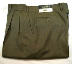 New- Lauren Ralph Lauren Olive/Tan Houndstooth Dress Trousers- size 36x34