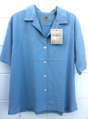 New- Women's Eagle Dry Goods Blue Silk Camp Shirt- size M