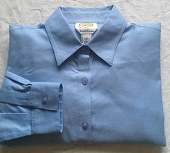 New- Women's Talbots Blue Cotton Pique Dress Blouse- size 12