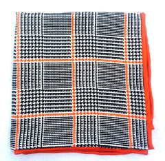 New- Orange/ Black Plaid Silk Pocket Square