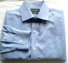 New- Lauren-Ralph Lauren Blue Check,Slim Fit,Dress Shirt- Size (16x32/33)