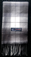New- Italian Design 100% Cashmere Gray Plaid Scarf