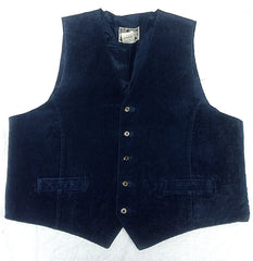 Vintage Property- Blue 100% Suede Leather Fashion Vest- size XL