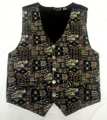 Vintage Thums-Up Retro Tapestry Dress Vest- size L