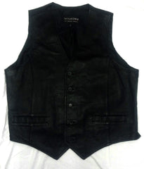 Wilsons Leather- 100% Black Leather Casual Fashion Vest- size L