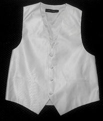 New- Alan Flusser White Micro Twill Satin Formal Vest- size L